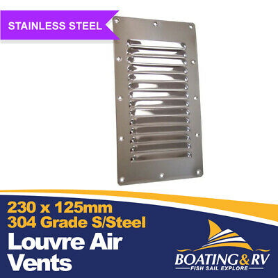 Louvre Vent Stainless Steel - 227mm X 127mm - Boating Deck Hardware - Boat Vents