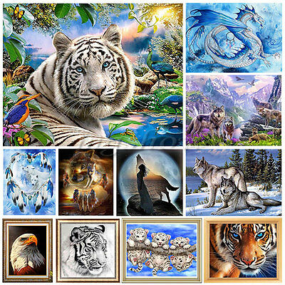 Animal DIY 5D Embroidery Diamond Sticker Cross Stitch Painting Home Decor Tiger