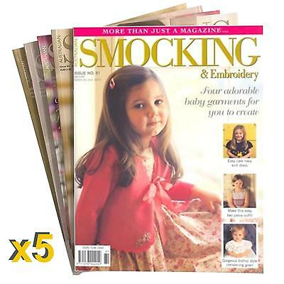 5 Pack #4 New Australian Smocking & Embroidery Magazine Patterns Sewing RRP $90+