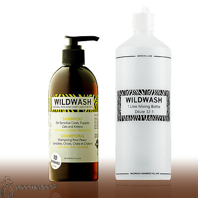 Wildwash Shampoo for Sensitive Coats,Puppies,Cats & Kittens & Mixing Bottle Set