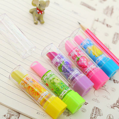 1pc Lovely Novelty Lipstick Rubber Pencil Eraser Office Stationery Gift Toy