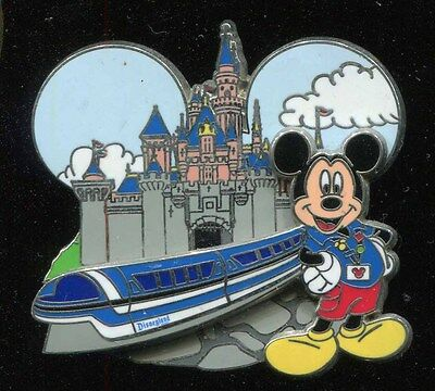DLR Mickey Mouse and Monorail with Sleeping Beauty Castle Disney Pin 88231