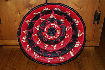 Beautiful African Weaved Black, White And Red Large Basket