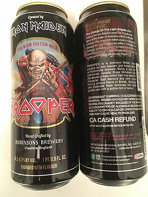 Iron Maiden Trooper 2 Collectible Beer Cans Robinsons Brewery England Empty