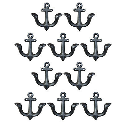 10 Pcs  M Size Anchor Style Cast Iron Wall Coat Hooks Hat Hook Hall Tree School