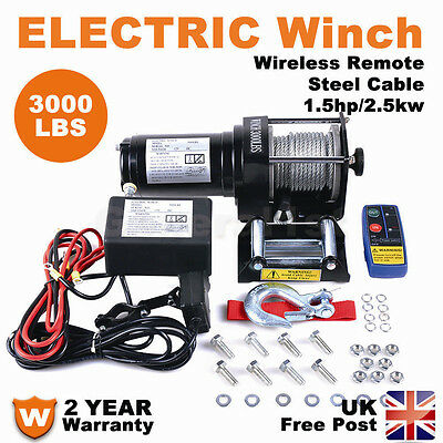 3000lbs Electric Winch 12V Steel Cable Wireless Remote 4x4WD ATV Boat Car Truck
