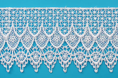 """Kiddo 4.25"""" White Floral Guipure Venice Lace Trim by Yard Sewing Crafts Supplies"""