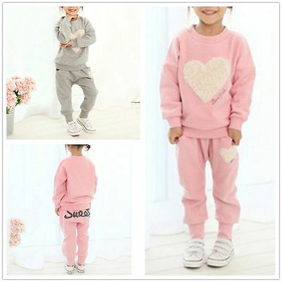 2PCS Kid Baby Girl Clothes Outfit Cotton T-shirt Top+Jogging Pants Tracksuit Set