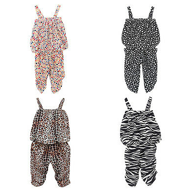 2Pcs Leopard Baby Girl Vest + Pants Clothes Suit Kids Children Outfits Sets 2-6Y