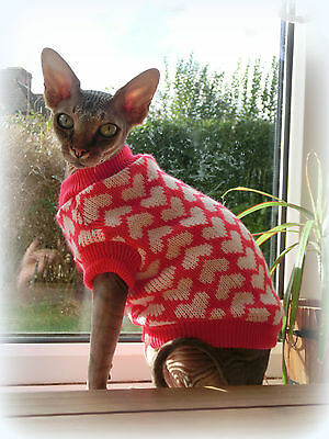 small adult HEARTS Warm winter top for a Sphynx  cat clothes, jumper pet clothes