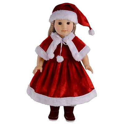 Cute Christmas Clothes Red Dress Shawl Hat Set for 18 Inch Girl Doll