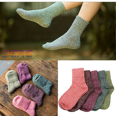 5 Pairs Women Wool Cashmere Thick Winter Warm Socks  Soft Solid Casual Sports UK