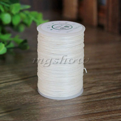 100M Leather Craft Sewing White Round Waxed Wax String Linen Thread Cord 0.6mm