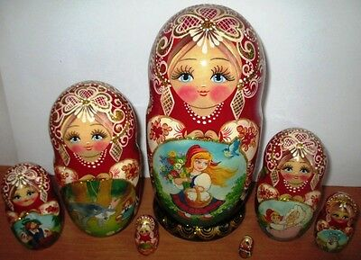 """7 PCS 8.6"""" NESTING DOLL STACKING DOLLS Little Red Riding Hood fairy tale"""