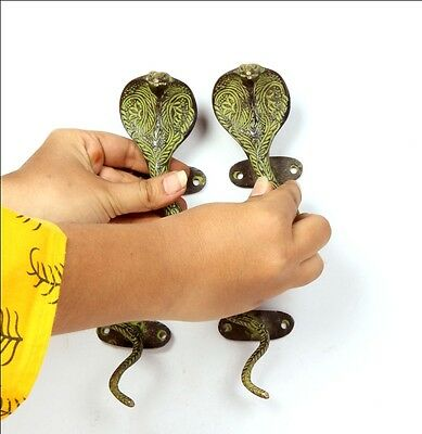 2 Pc Brass Hand Made Inlay Carving Snake Door / Cabinet Handles 6197