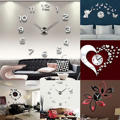 Modern 3D Home Decoration Crystal Mirror Living Room Gift Sticker DIY Wall Clock