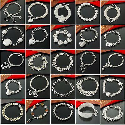 Fashion new  wholesale solid 925sterling silver jewelry chain bracelets bangle