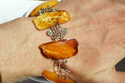 Antique Baltic Sea Amber Bracelet 29 Grams  Old Beeswax Color