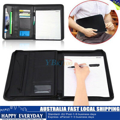 A4 Zipped Conference Folder Business PU Leather Document Bag Case Portfolio Gift