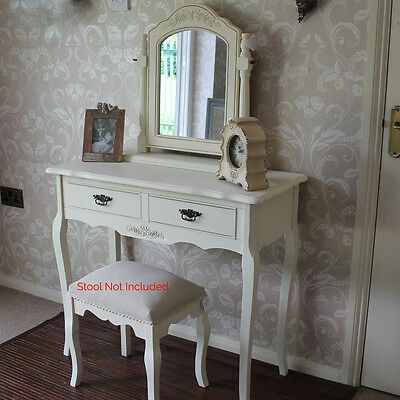 Cream Wood Dressing Table & Mirror Set Shabby French Chic Vintage Vanity Bedroom