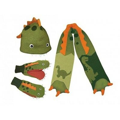 Dinosaur Set 3-6 yrs Kidorable Knitted Hat Mittens Scarf Gloves Boys Kids Dino