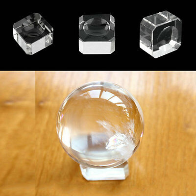 Clear Square Dimple Crystal Ball Display Bases Table Holder Stand Home Gift GD