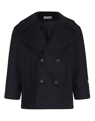 Armor Lux Girls' Caban Double Breasted Pea Coat - Navy