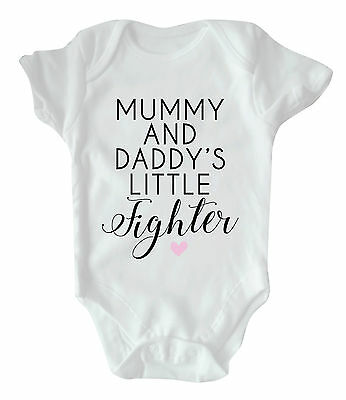 Mummy And Daddy's Little Fighter Babygrow | Bodysuit Miracle New Born Baby Gift