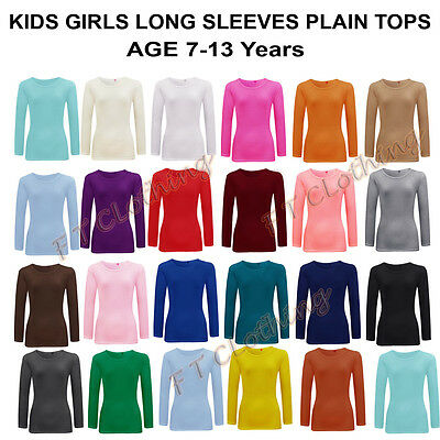 NEW Kids Girls Plain Long Sleeve Tops Shirts Size Age 7-13 Years