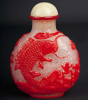 China 20. Jh. A Chinese Red Overlay Glass Snuff Bottle Cinese Tabatière Chinois