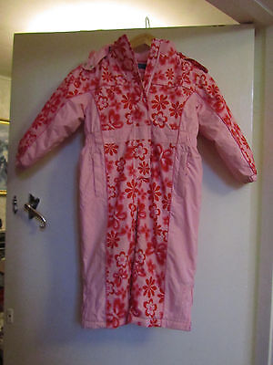 Girls Pink Floral Zip Up Snowsuit with Hood - 2 - 3 years