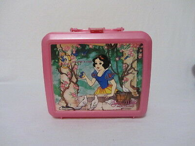 Vintage Disney Princess Snow White  Pink Plastic Lunch Box With Thermos Lot B