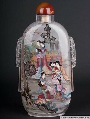 China 20. Jh. A Large Chinese Interior Painted Glass Snuff Bottle Cinese Chinois