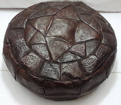 Genuine Leather Ottoman Pouf Footstool Empty Authentic Egyptian Morocan