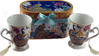 Royal Peacock Set Of 2 Large Cups / Mugs In Gift Box