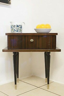 Retro 1970s 1960s French Bedside Cabinet Table Gloss Brown Vintage