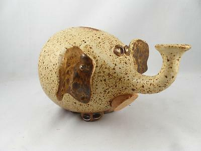 Vintage Guy De Pelteau Quebec Art Pottery Elephant Shape Coin Bank   Piggy/still