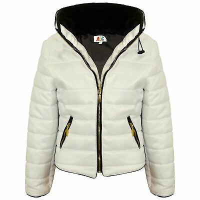 Girls Jacket Kids Padded White Puffer Bubble Fur Collar Quilted Warm Thick Coats
