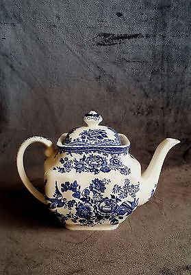 Lovely Blue and White Patterned Teapot with Flowers, Birds & Butterflies.