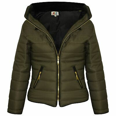 Girls Jacket Kids Padded Olive Puffer Bubble Fur Collar Quilted Warm Thick Coats