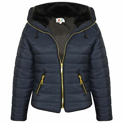 Girls Jacket Kids Padded Navy Puffer Bubble Fur Collar Quilted Warm Thick Coats