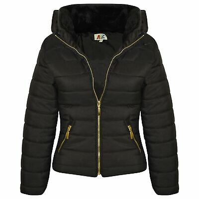 Girls Jacket Kids Padded Black Puffer Bubble Fur Collar Quilted Warm Thick Coats