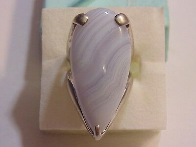 "Sterling Silver 925 Blue Lace Agate Ring Size 6.5 1.25"" Long  83720"