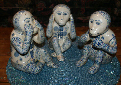 Fab Lot Of Chinese Porcelain Large Three Wise Monkeys Here No Evil