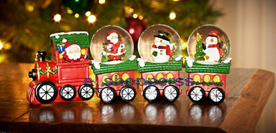 Christmas Toy Train Design Set Of 4 Snow Globes Waterball Ornaments