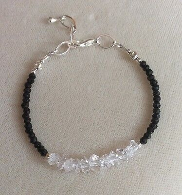 Herkimer Diamond and black tourmaline bracelet, HUGE SALE