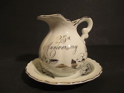 25th Anniversary Porcelain China Pitcher & Bowl Set George Good Japan