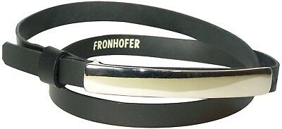 FRONHOFER Chic skinny belt with a long silver buckle, 17574