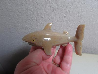 Shark, Solid stone Hand carved marble from Andes Multi Hued Stone Unique Shark
