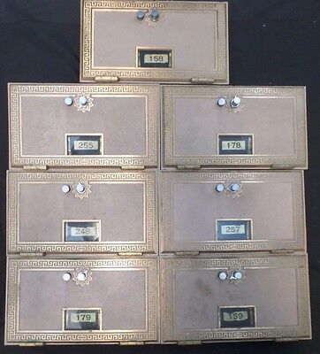 "1960's Brass Post Office PO Boxes/Doors, Combination Locks, 11"" x 6.5"" Lot of 7"